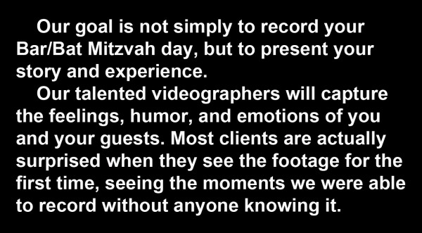 TEXT for BAR MITZVAH  VIDEO PORTFOLIO..